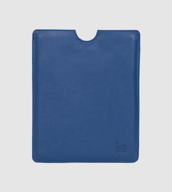 IE Leather Ipad Case. Blue color front