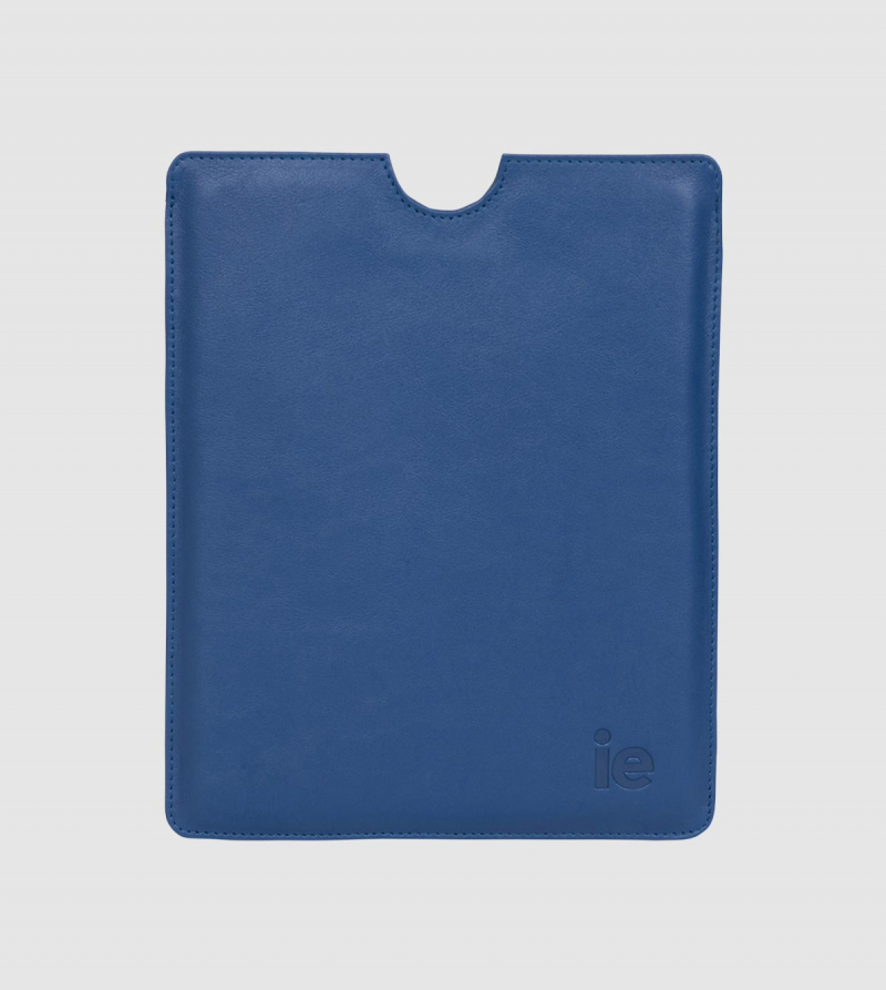 Funda Ipad IE de Cuero de color azul front