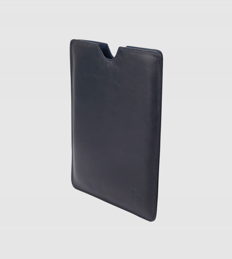 IE Leather Ipad Case. Navy color back