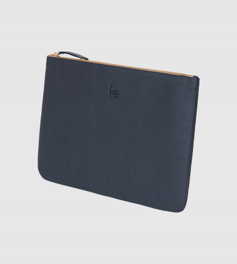 IE Leather Ipad Pro Case. Navy color back