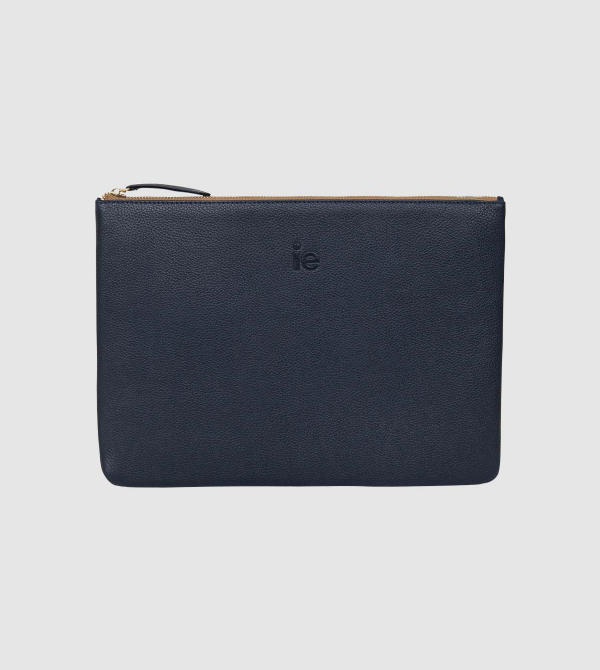 IE Leather Ipad Pro Case. Navy color front