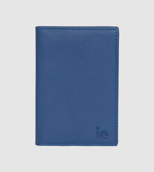 IE Leather Passport Case. Blue color front