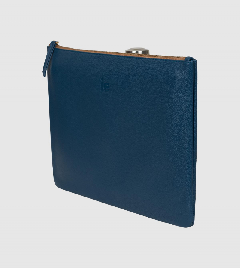 IE Leather Document Case. Lavender color back