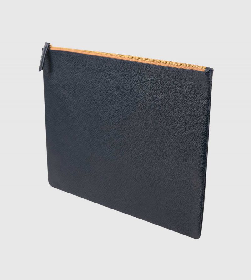 IE Leather Document Case. Navy color back