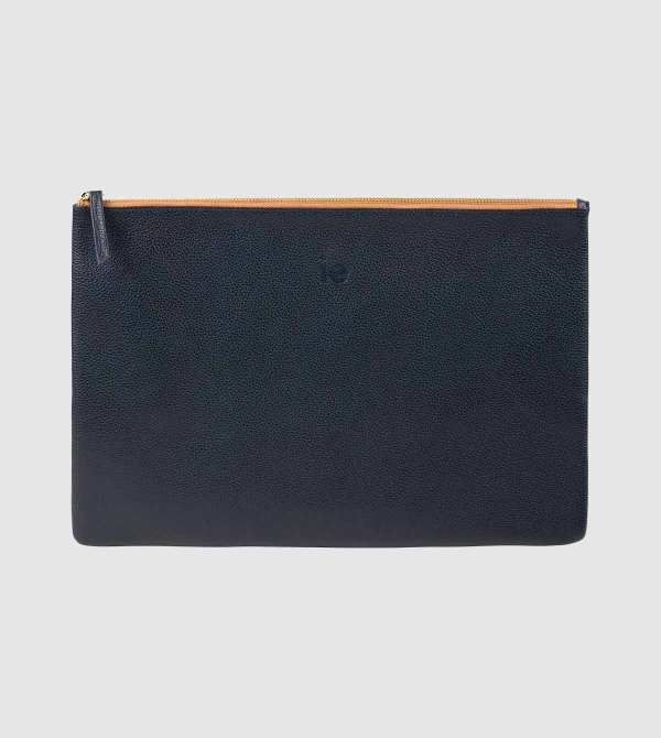 IE Leather Document Case. Navy color front