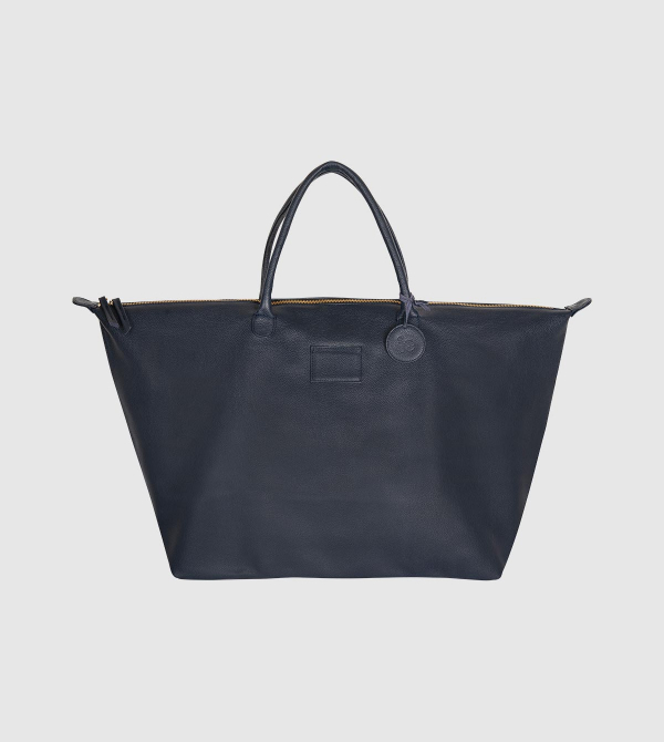 IE Leather Travel Bag. Navy color front