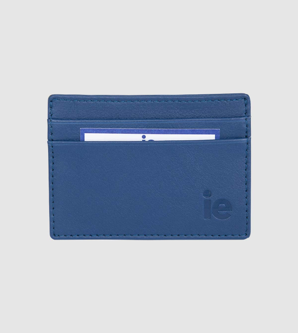 IE Leather Wallet. Blue color front