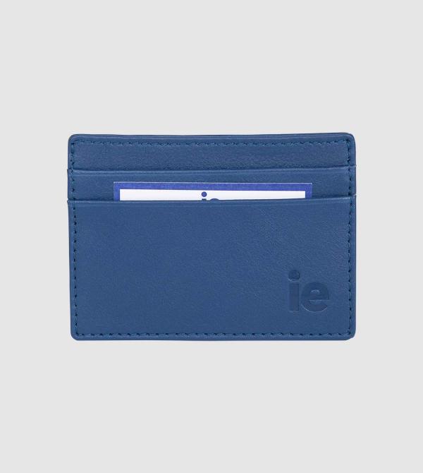 Tarjetero IE de Cuero de color azul front