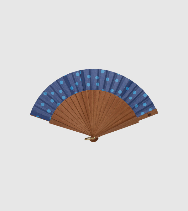 IE Dots Hand Fan. Blue color front