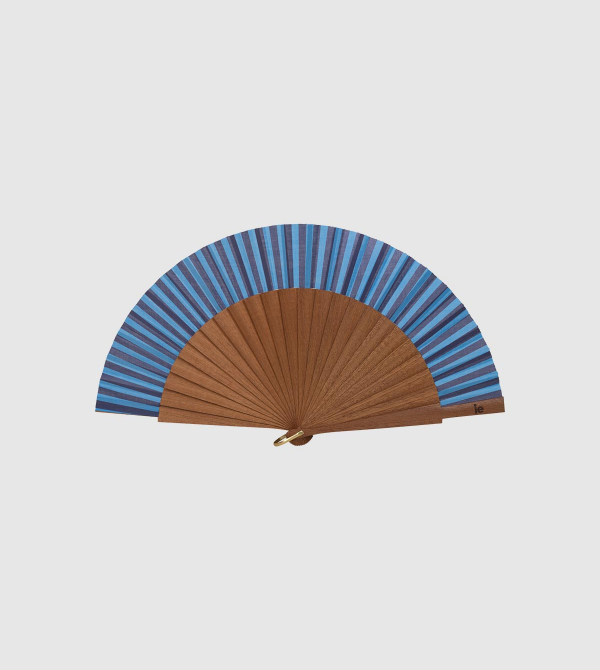 IE Stripes Hand Fan. Blue color front