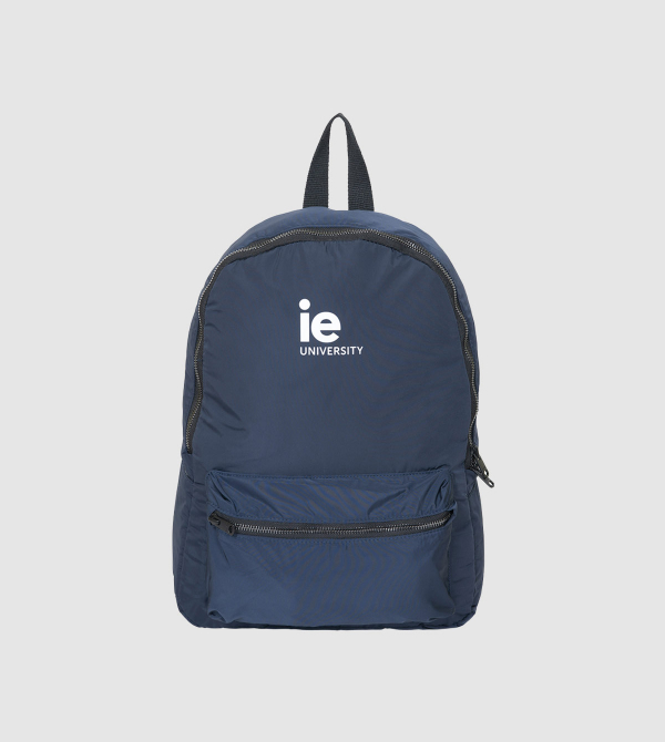 IE University Backpack. Navy color front