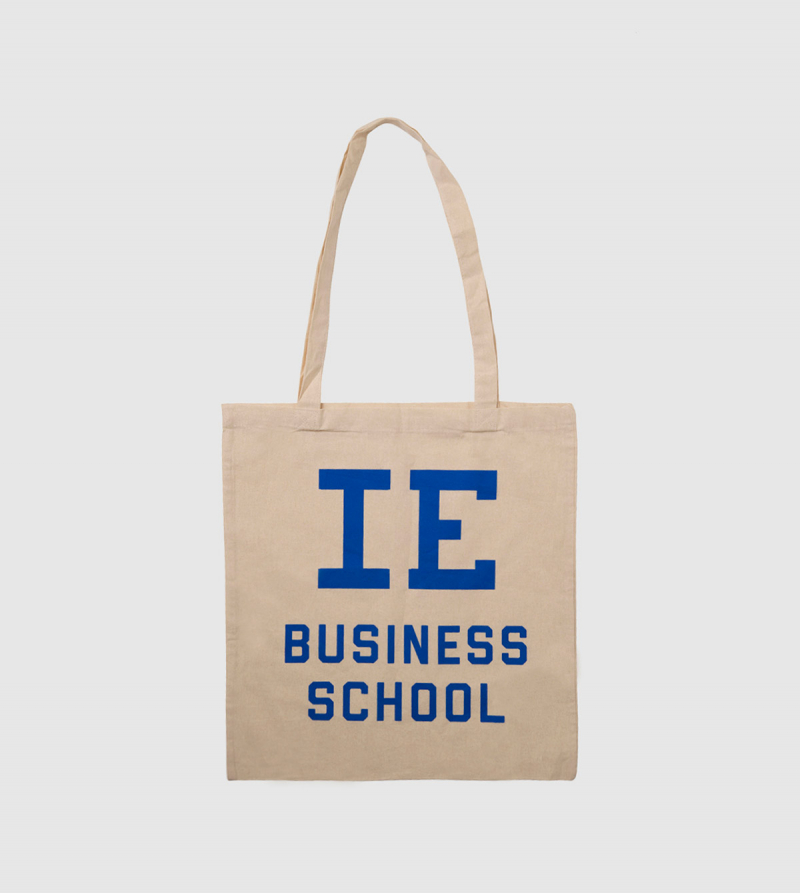 IE Business School Cotton Canvas Tote Bag. Natural color front