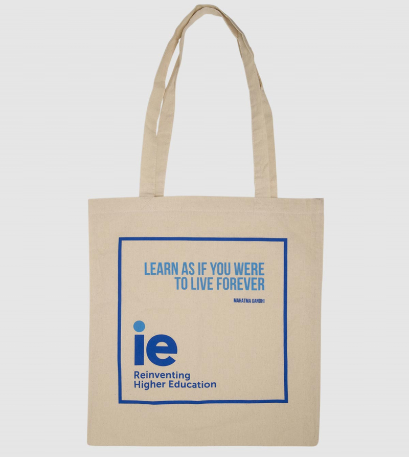 "Cotton Canvas Tote Bag ""Lear as if you were to live forever"". Natural color front"