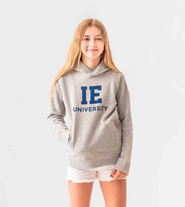 IE University Kids Hoodie. Grey color front