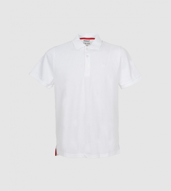 Camisa Tipo Polo IE de color blanco front