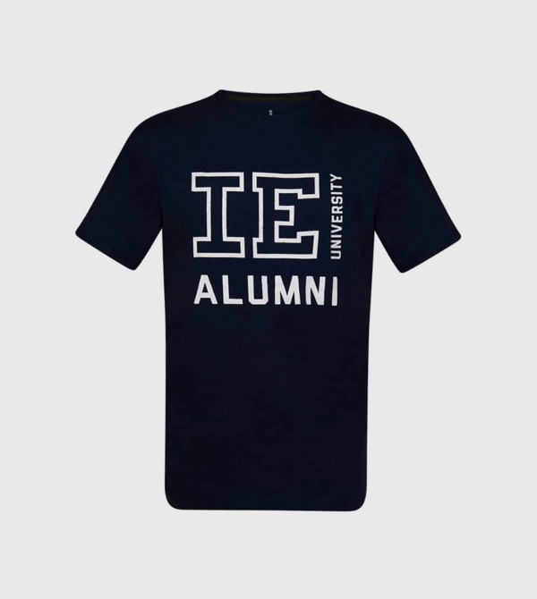 IE Alumni University Unisex T-shirt. Navy color front