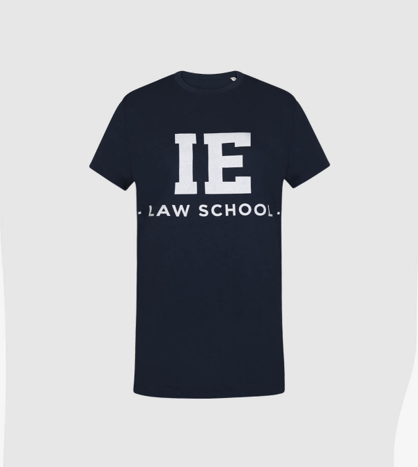 IE Law T-Shirt. Navy color front