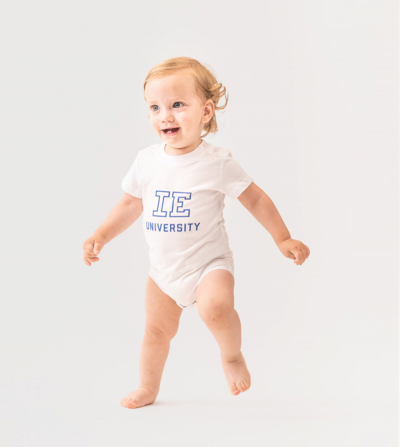 IE University Baby Body. White color front