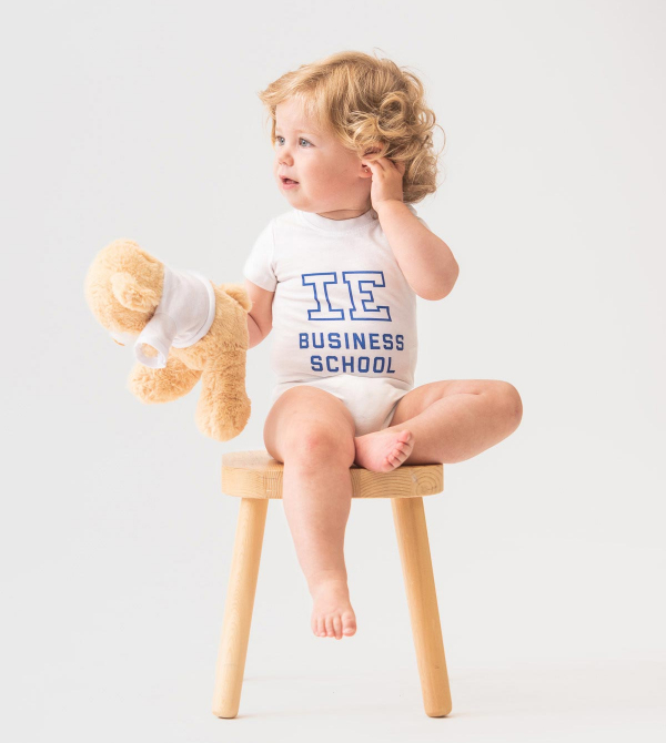 IE Business School Baby Body. White color front