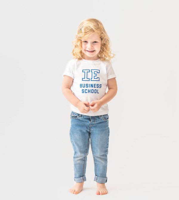 IE Business School Baby T-Shirt. White color front