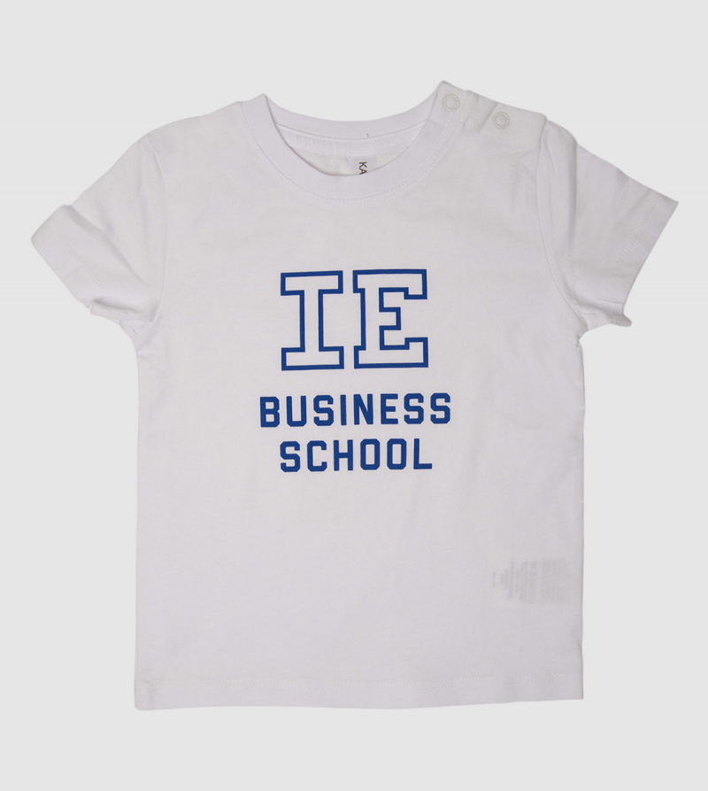 Camiseta Bebé IE Business School de color blanco back