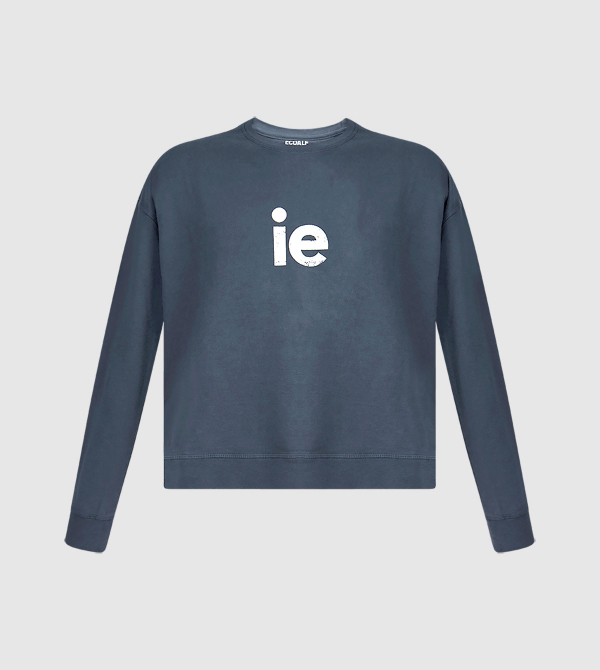 IE Women's Sweatshirt. Blue color front