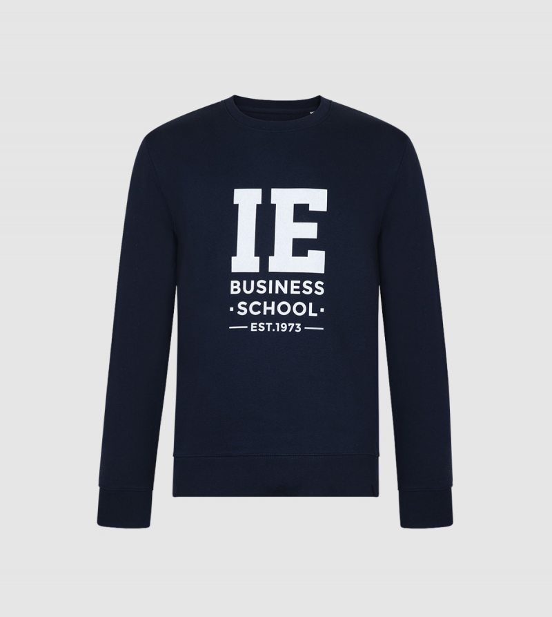 IE Business School Unisex Sweatshirt. Navy color front