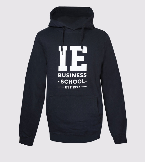 IE Business School Hoodie. Navy color front