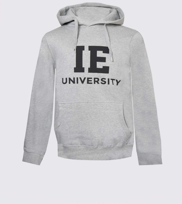 IE University Hoodie. Grey color front