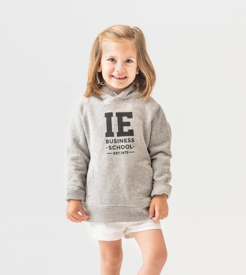 IE Business School Kids Hoodie. Grey color front