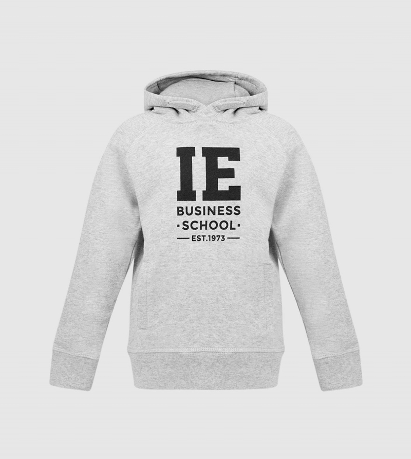 IE Business School Kids Hoodie. Grey color zoom