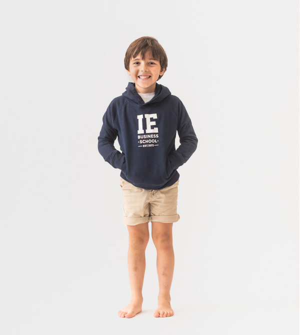 IE Business School Kids Hoodie. Navy color front