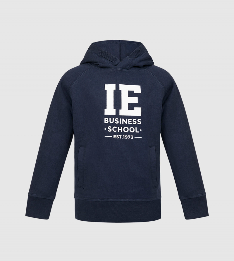 IE Business School Kids Hoodie. Navy color zoom