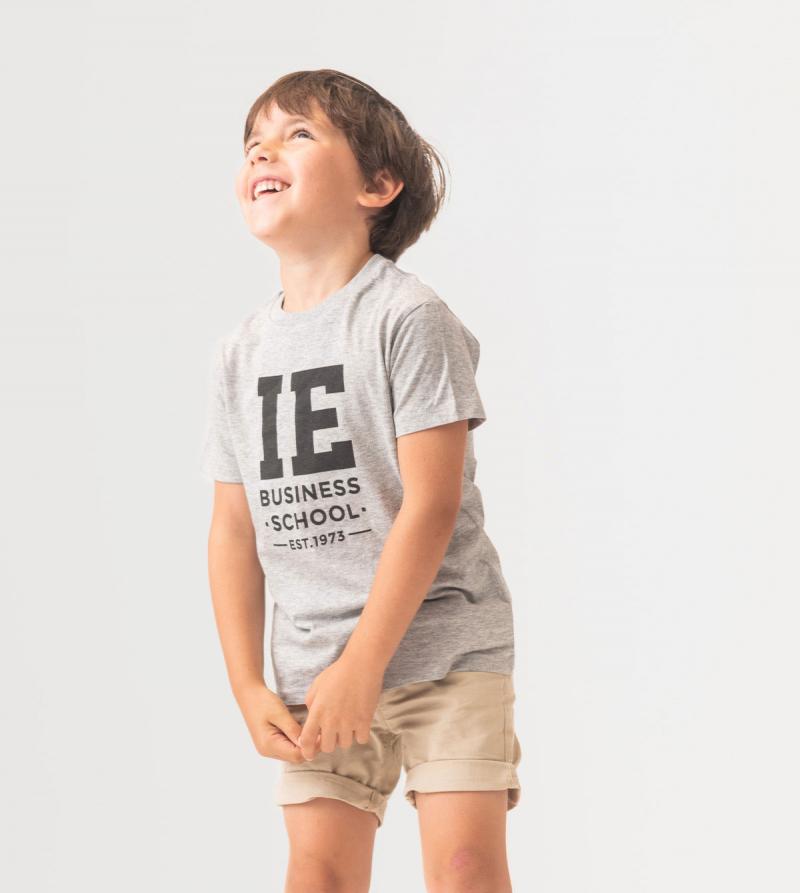 IE Business School Kids T-Shirt. Grey color front