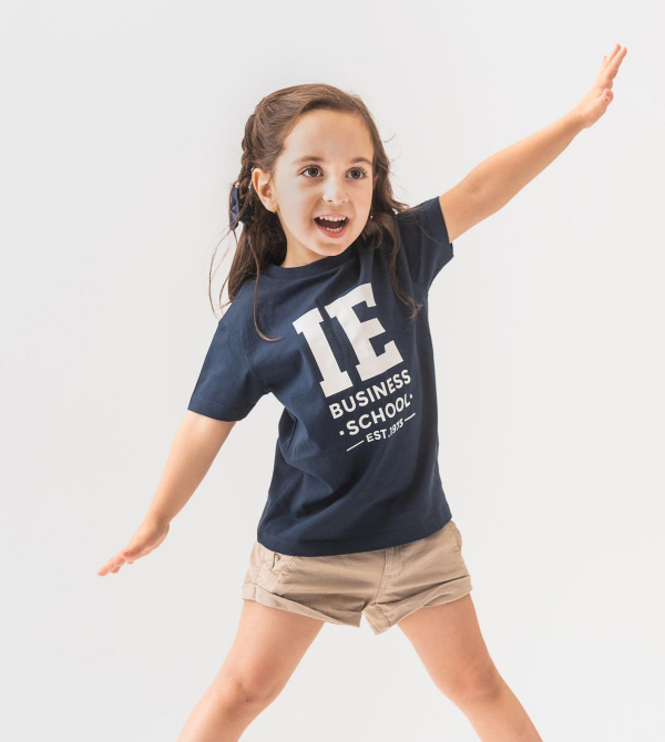 IE Business School Kids T-Shirt. Navy color front
