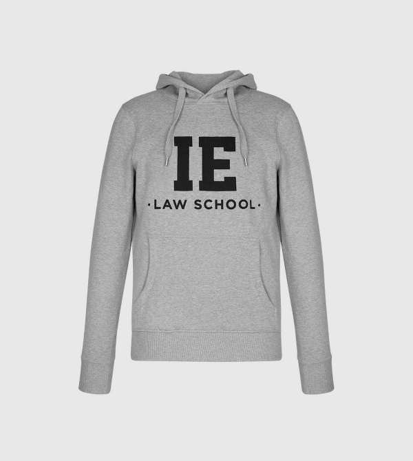 IE Law Hoodie. Grey color front