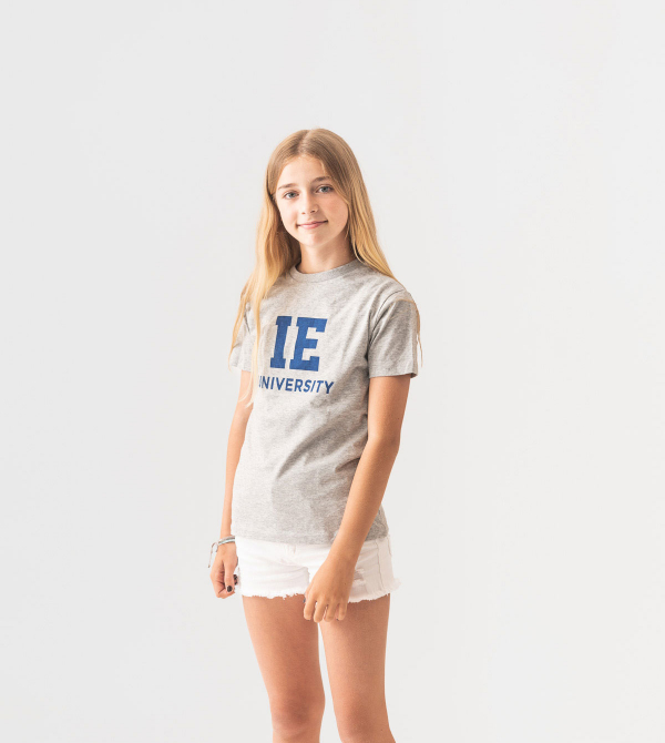 IE University Kids T-Shirt. Grey color front