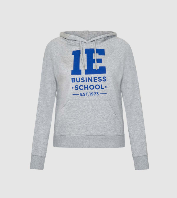 IE Business School Women's Hoodie. Grey color front