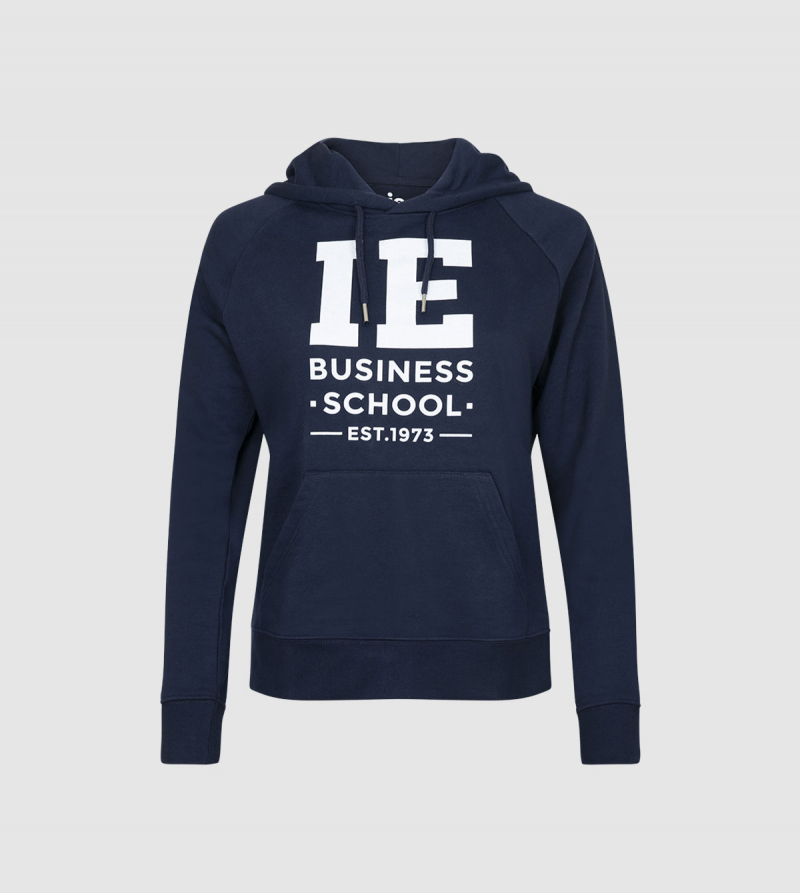 IE Business School Women's Hoodie. Navy color front