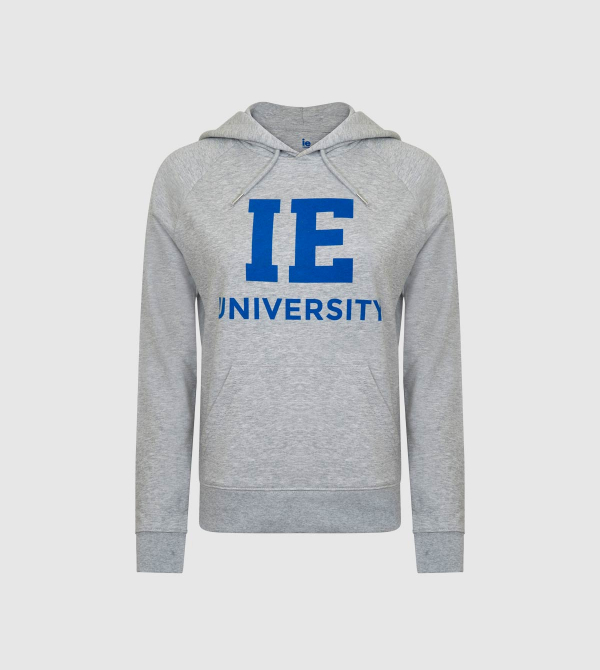 IE University Women's Hoodie. Grey color front