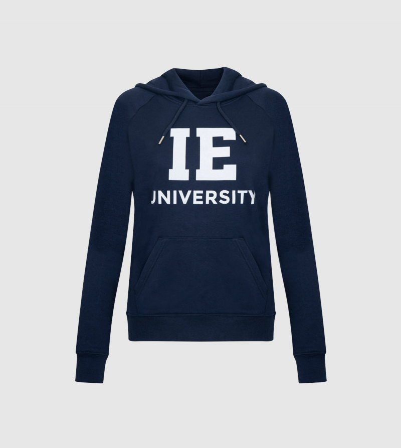 IE University Women's Hoodie. Navy color front