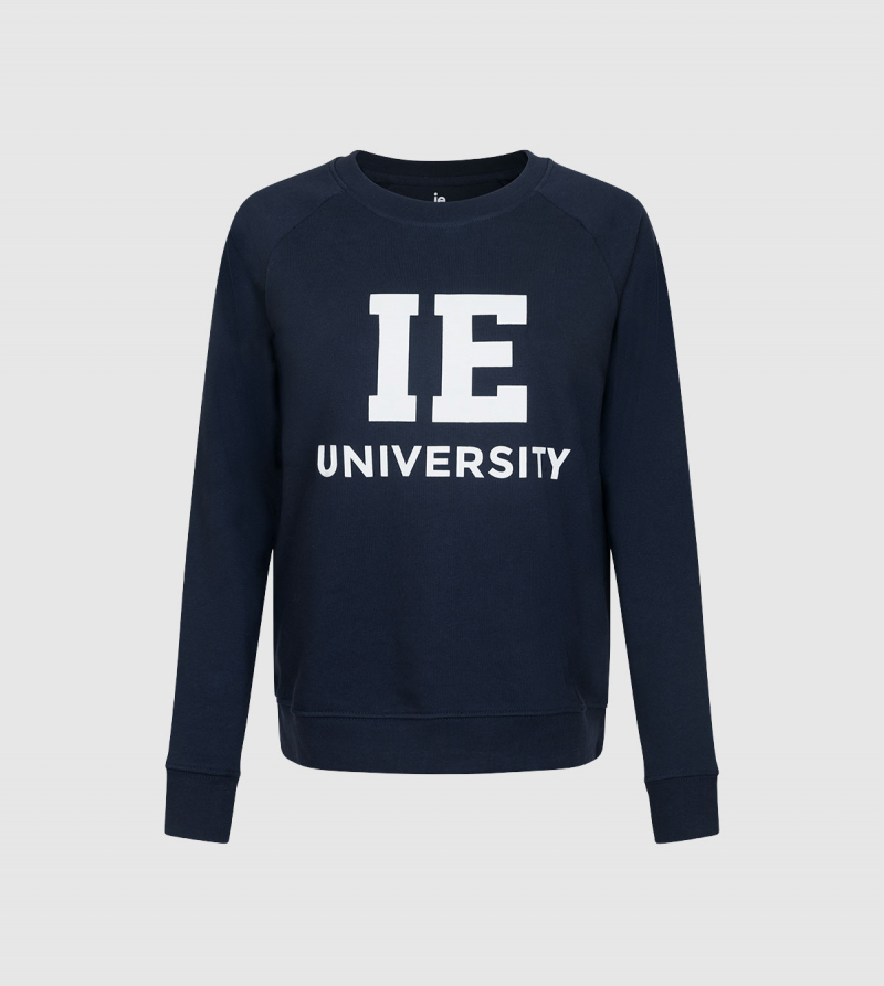 Sudadera IE University. Color navy front