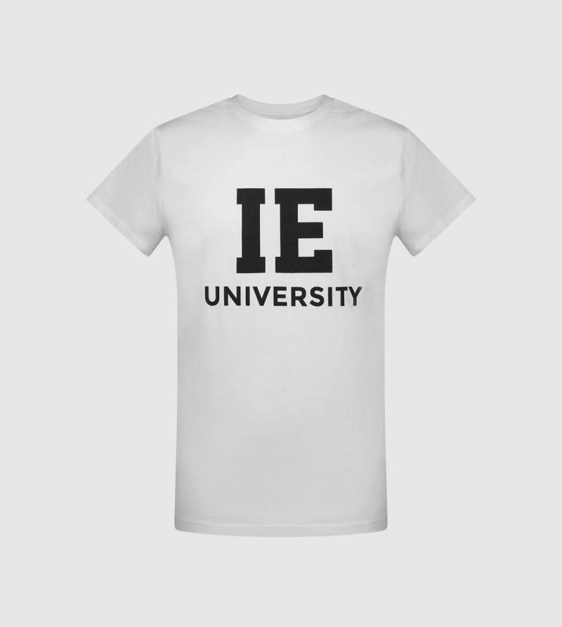 IE University Unisex T-Shirt. White color front