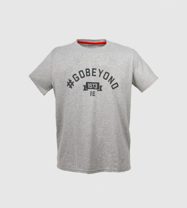IE GOBEYOND Men's T-shirt. Grey color front