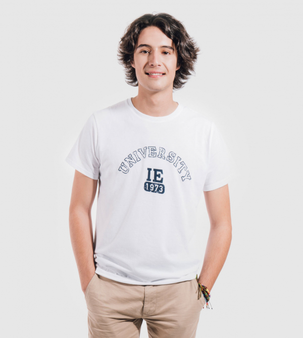 IE University Men's T-Shirt. White color front
