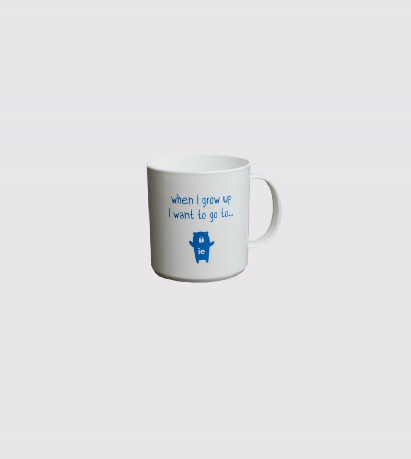 "Taza IE ""When I grow up…"" de color blanco front"