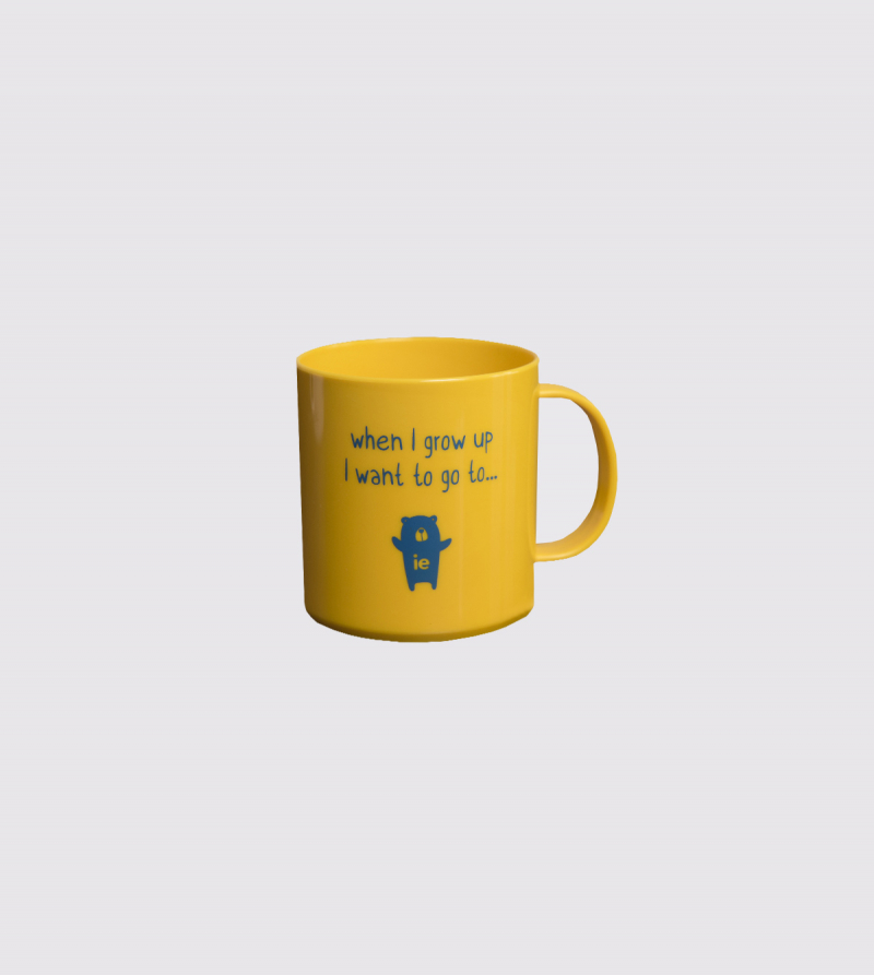 "Taza IE ""When I grow up…"" de color amarillo front"