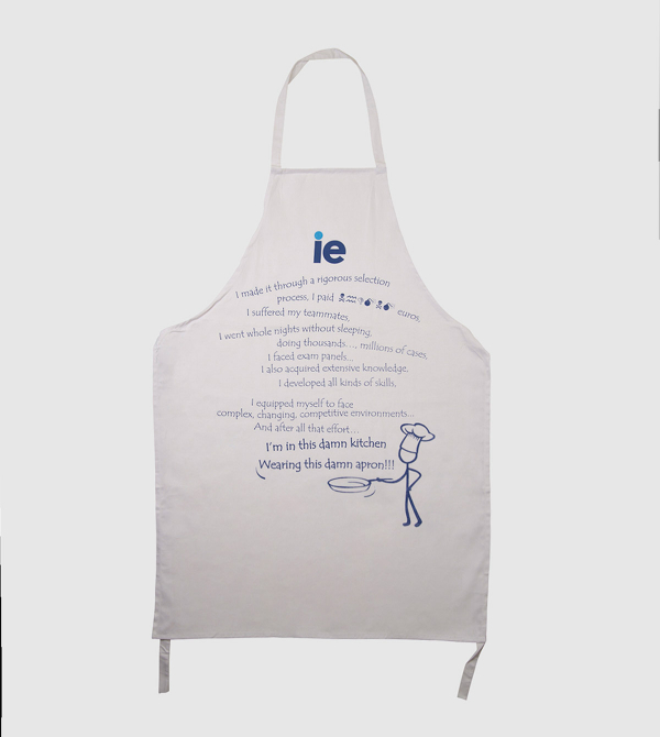 "Cotton Chef Apron ""English"". White color front"