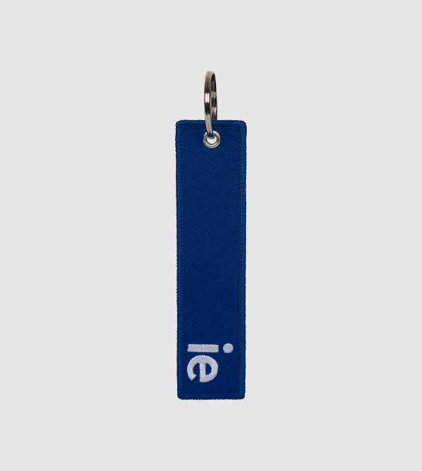 IE Embroidery Keychain. Blue color front
