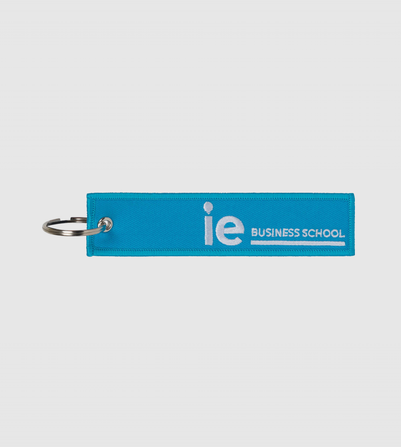 IE Business School Embroidery Keychain. Blue color front